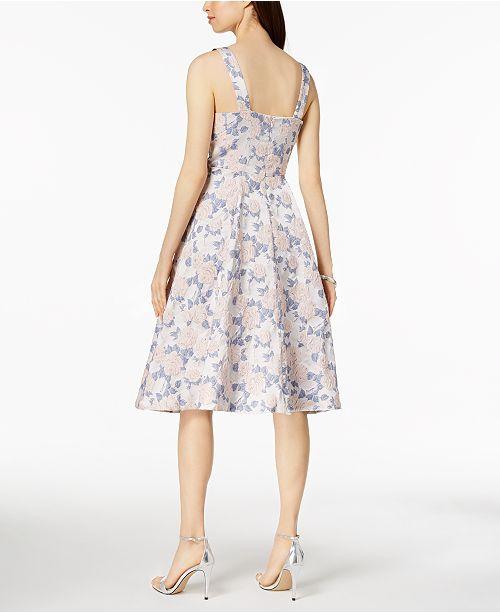 077b80d57df7c ... Nanette Lepore Nanette by Metallic Floral Jacquard Fit   Flare Dress ...