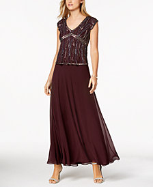 J Kara Beaded-Bodice A-Line Gown
