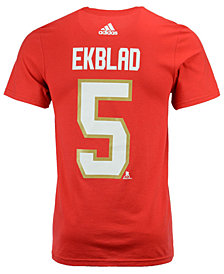 adidas Men's Aaron Ekblad Florida Panthers Silver Player T-Shirt