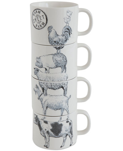 Stacked Mugs with Farm Animals, Set of 4