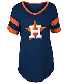 5th & Ocean Women's Houston Astros Sleeve Stripe Relax T-Shirt