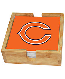 Memory Company Chicago Bears 4-Pack Square Coaster With Caddy Set