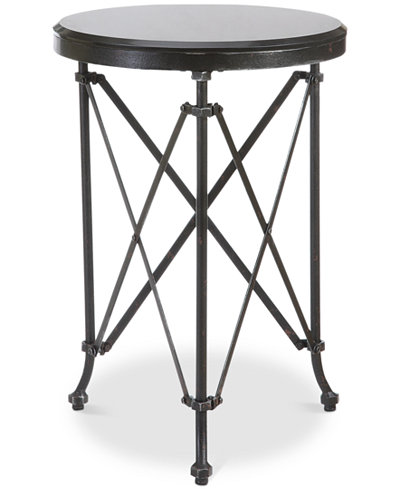 Round Metal Table with Marble Top