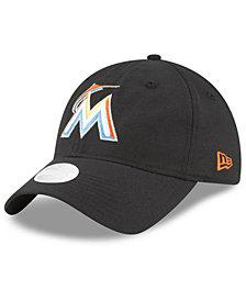 New Era Miami Marlins Team Linen 9TWENTY Strapback Cap
