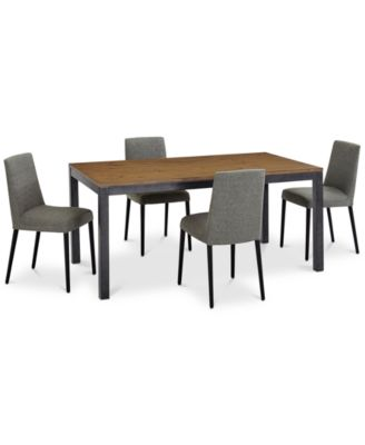 Gatlin Dining Furniture, 5-Pc. Set (Dining Table & 4 Charcoal Dining Chairs), Created for Macy's