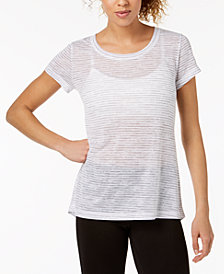 Ideology Jacquard Keyhole-Back T-Shirt, Created for Macy's