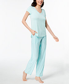 Alfani Solid Pajama Top & Printed Pants, Created for Macy's