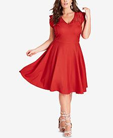 City Chic Trendy Plus Size Lace-Yoke Fit & Flare Dress