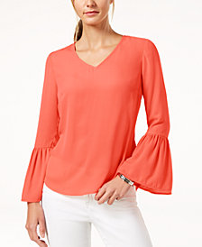 NY Collection Petite Flounce-Sleeve Top