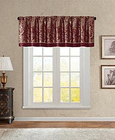 "Madison Park Aubrey 50"" x 18"" Paisley Jacquard Faux-Silk Rod Pocket Window Valance"