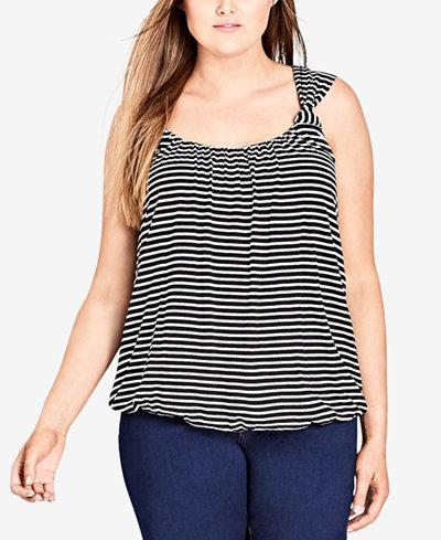 City Chic Trendy Plus Size Twist-Strap Striped Top