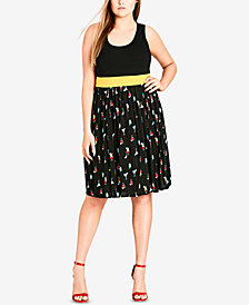 City Chic Trendy Plus Size Pleated Fit & Flare Dress