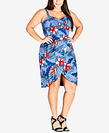 City Chic Trendy Plus Size Hawaiian Love Printed Dress