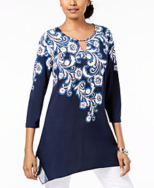 JM Collection Printed Handkerchief-Hem Tunic, Created for Macy's