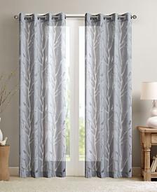 "Madison Park Averil 50"" x 84"" Sheer Burnout Bird Grommet Curtain Panel"