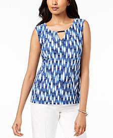JM Collection Jacquard-Print Bar-Detail Top, Created for Macy's
