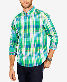 Nautica Men's Monaco Classic-Fit Plaid Pocket Shirt