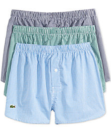 Lacoste Men's 3-Pk. Gingham Woven Cotton Boxers