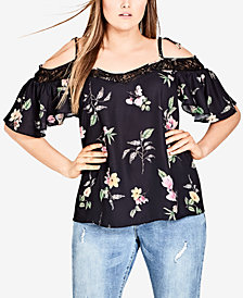 City Chic Trendy Plus Size Printed Lace-Trim Off-The-Shoulder Top