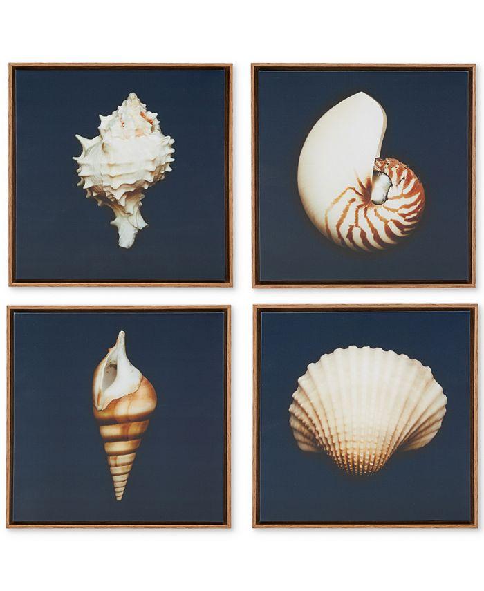 JLA Home - Ocean Seashells 4-Pc. Framed Canvas Print Set
