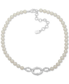 """Lauren Ralph Lauren Silver-Tone Link & Imitation Pearl Collar Necklace, 16"""" + 3"""" extender"""