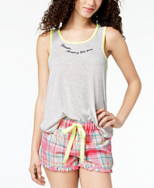 Jenni by Jennifer Moore Contrast-Trim Graphic-Print Tank Top, Created for Macy's