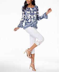 I.N.C. Printed Asymmetrical Ruffle-Hem Top & Cropped Crochet-Lace Pants, Created for Macy's