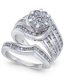 Diamond Cluster Multi-Row Bridal Set (2 ct. t.w.) in 14k White Gold