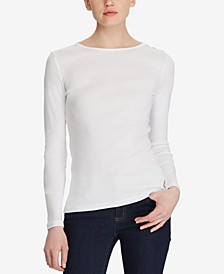 Long-Sleeve Button-Shoulder Top