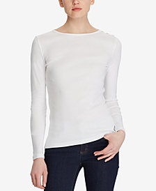 Lauren Ralph Lauren Long-Sleeve Button-Shoulder Top