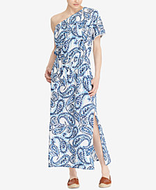 Lauren Ralph Lauren Printed One-Shoulder Cotton Maxidress, Created for  Macy\u0027s