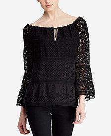 Lauren Ralph Lauren Petite Bell-Sleeve Cotton Top