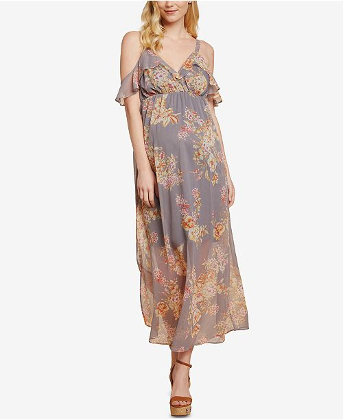 b8d56ab0126 Jessica Simpson Sleeveless Ruffled Maternity Maxi Dress   Reviews ...