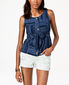 Lucky Brand Sleeveless Tie-Front Shirt