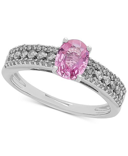 Macy's Pink Sapphire (1 ct. t.w.) & Diamond (1/4 ct. t.w.) Ring in 10k White Gold