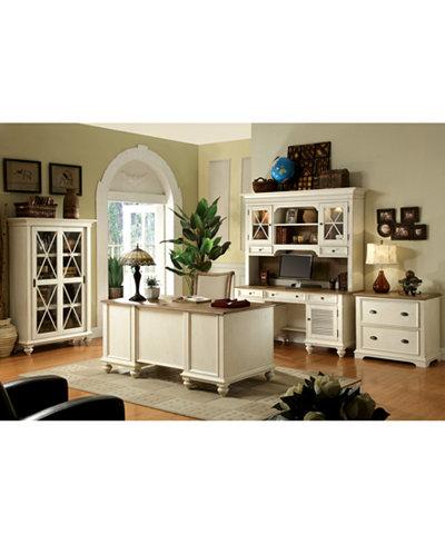 Brompton II Home Office, 3-Pc. Furniture Set (Shutter Door Credenza, Credenza Hutch & Sliding Door Bookcase)