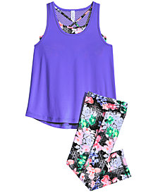 Ideology Layered-Look Tank & Printed Capri Leggings, Big Girls, Created for Macy's