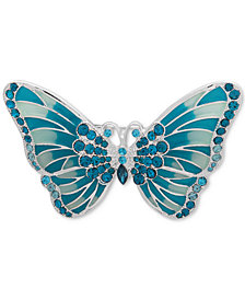 Anne Klein Silver-Tone Crystal & Enamel Butterfly Pin, Created for Macy's