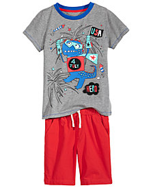 Epic Threads Dino-Print T-Shirt & Pull-On Shorts Separates, Little Boys, Created for Macy's