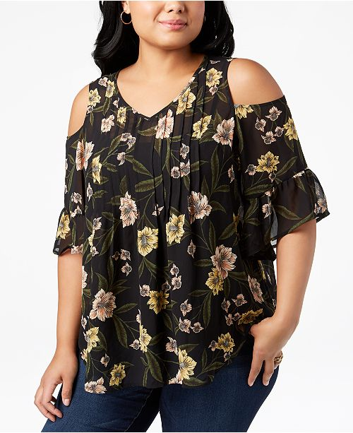 Style & Co Plus Size Printed Pleated Cold-Shoulder Top, Created for Macy's