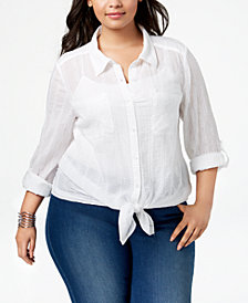 Style & Co Plus Size Sheer Tabbed-Sleeve Shirt, Created for Macy's
