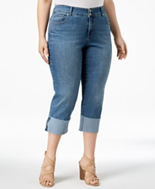 Style & Co Plus Size Cuffed Straight-Leg Capri Jeans, Created for Macy's