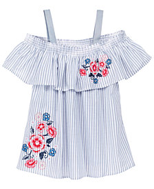 Epic Threads Embroidered Striped Cotton Top, Big Girls, Created for Macy's
