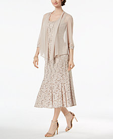 R & M Richards Sequined Lace Midi Dress & Mesh Jacket