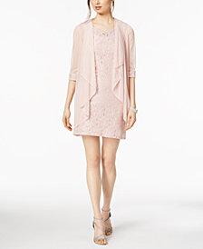R & M Richards Petite Glitter Lace Dress & Waterfall Jacket