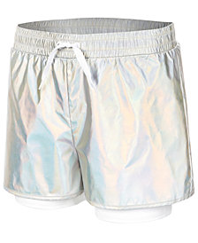 Ideology Metallic Layered-Look Shorts, Big Girls, Created for Macy's