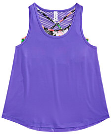 Ideology Layered-Look Mesh-Back Tank, Big Girls, Created for Macy's