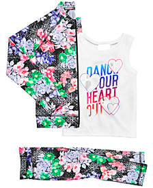 Ideology Zip-Up Jacket, Dance-Print Tank & Printed Capri Leggings, Little Girls, Created for Macy's