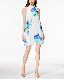 Jessica Howard Petite Floral-Print Mock-Neck Dress
