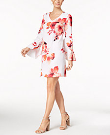 Calvin Klein Petite Bell-Sleeve Printed Dress